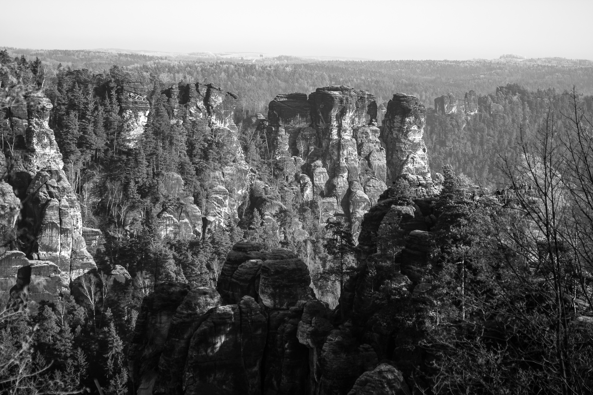 The National Park of Saxon Switzerland is located in Southeastern Germany and south of the city of Dresden. <br> The park, center of a natural space of almost 710 km², extends along the river Elbe. <br> Its characteristic sandstone mountains make up a rocky chain that rises 194 meters above the level of the river.