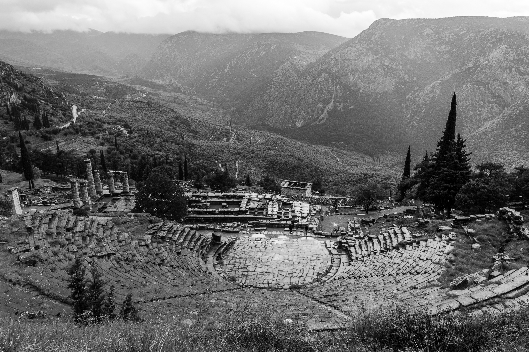 The sanctuary of Delphi lies at the foot of mount Parnassus and is one of the most known oracles of Ancient Greece. It is said that the god Apollo talked through the pious, priestesses of the temple. During the seventh century B.C. it became one of the most important places in the Hellenic world.