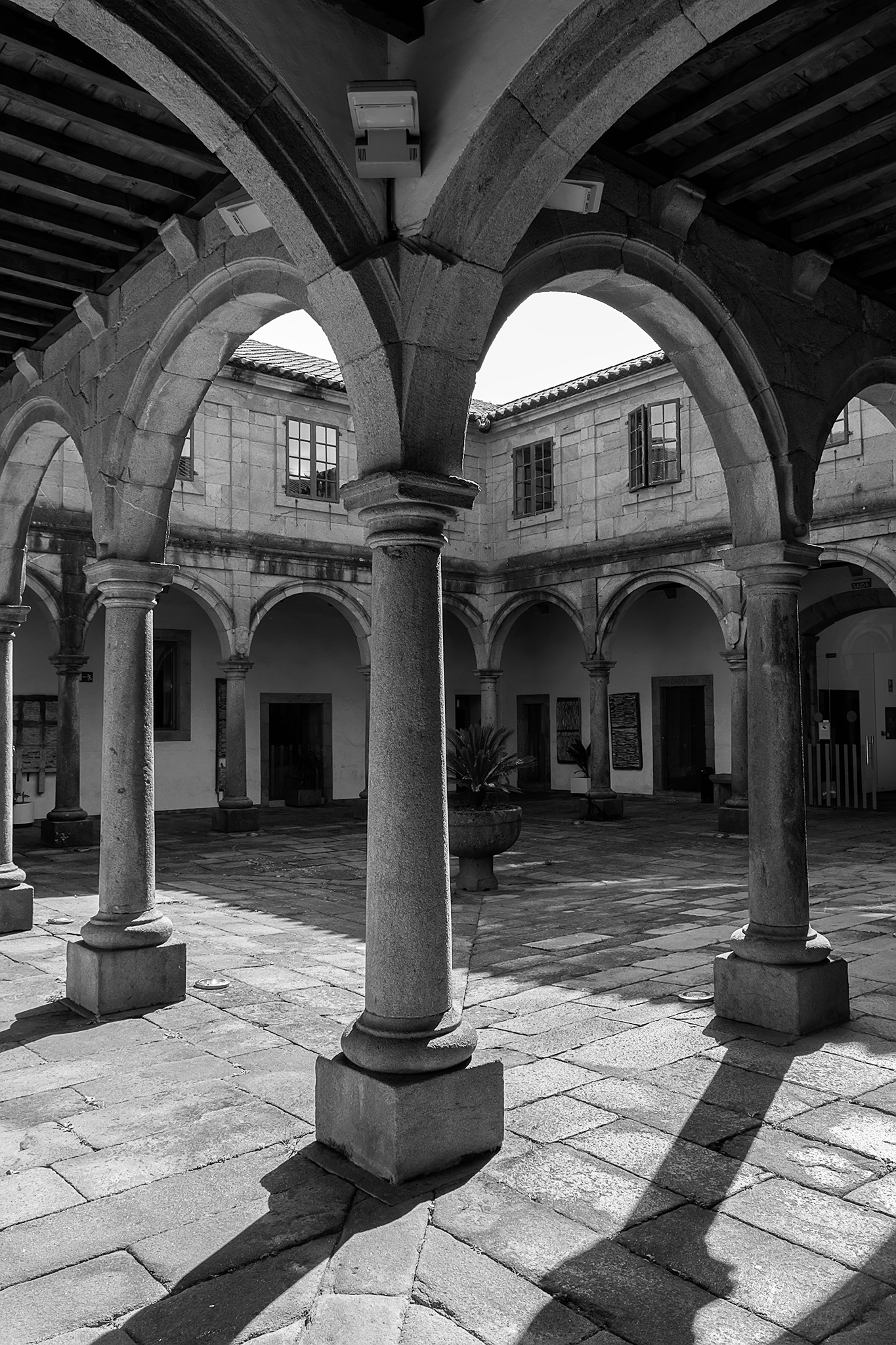 El Antiguo Hospital de San Roque, edificio originario del siglo XVI y transformado en el XVIII, fue levantado en el año 1578 entre la rúa das Rodas y la rúa de San Roque.</br></br>Fundado con la finalidad de atender a los enfermos que contraían las epidemias de peste que arrasaron la ciudad (S. XVI) fue construido en advocación a San Roque, santo elegido para proteger de dicha enfermedad. Su estructura cuenta con planta rectangular y un claustro de dos galerías en las que se disponen arcos de medio punto sobre columnas dóricas.</br></br>En el año 2000 este antiguo hospital fue sometido a una gran restauración y acondicionado con el objetivo de utilizarlo para el desarrollo de actividades culturales.