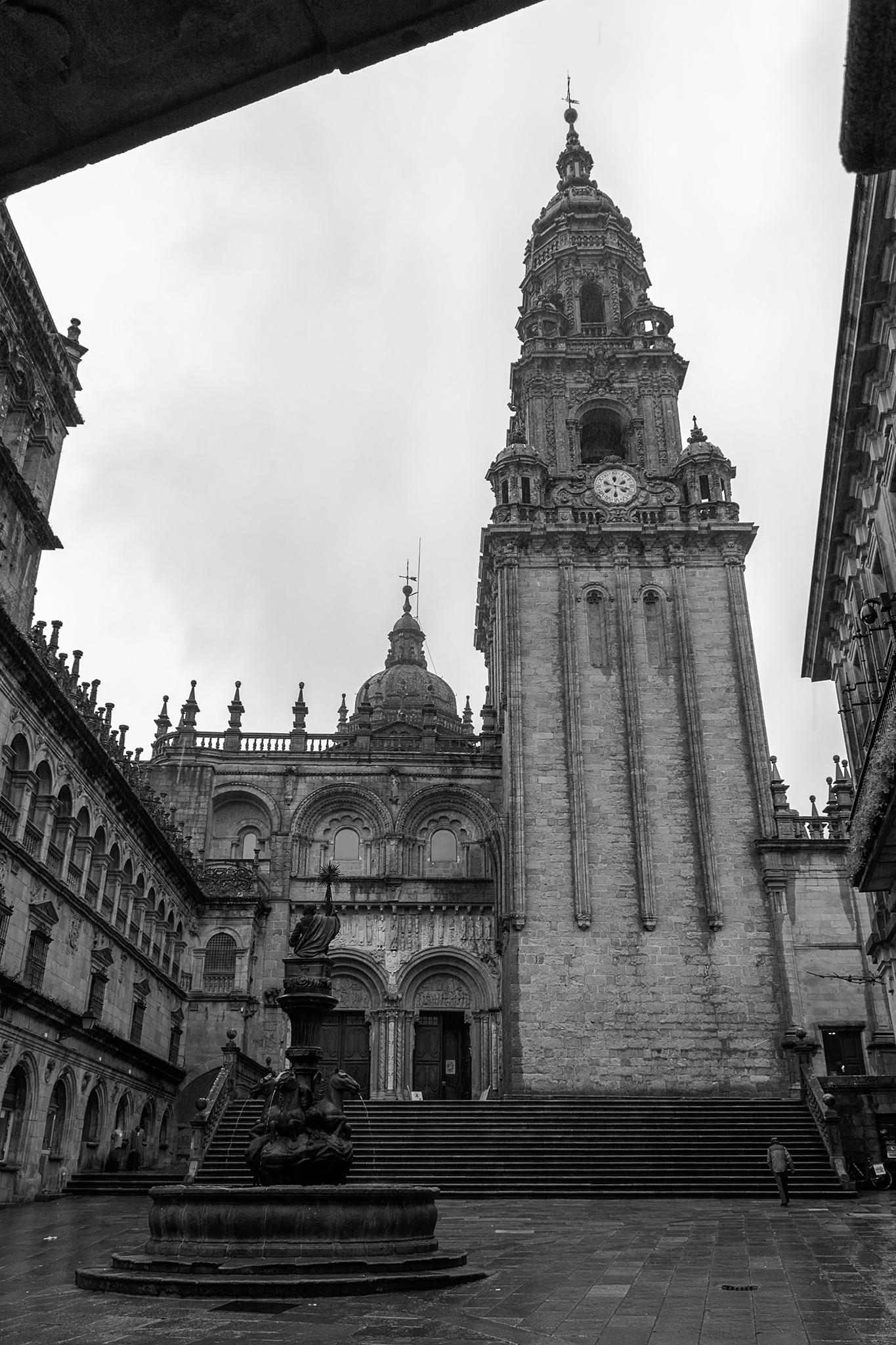 Como es común en las plazas y pequeñas calles que rodean la Catedral de Compostela, la Plaza de Platerías recibe su nombre de los antiguos oficios y actividades artesanas que se desarrollaban históricamente.</br></br>Tanto la Plaza de Platerías como la fachada norte de la basílica, deben su nombre a los talleres de orfebres y plateros que durante la Edad Media se situaban en esta zona, costumbre que se mantiene hasta la época actual en la cual aún se conservan numerosos establecimientos de joyería y más concretamente de artesanos plateros.</br></br>En el centro de la plaza se encuentra la Fuente de los Caballos, que originalmente se situaba en el interior del claustro de la Catedral, y a su derecha, con más de 70 metros de altura, se puede ver la Torre del Reloj, con un cuerpo inferior gótico y con añadidos posteriores en la parte superior de estilo barroco.