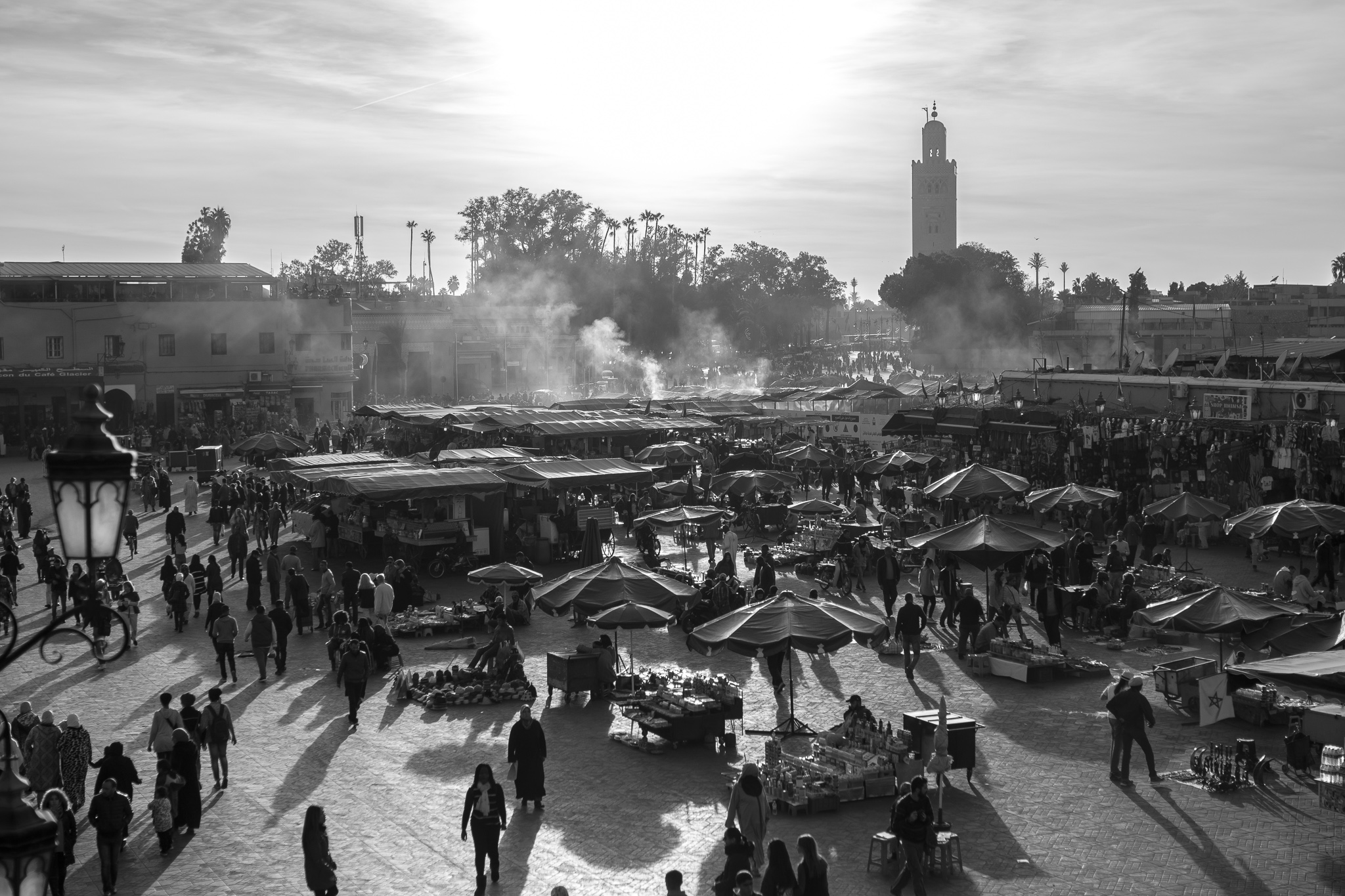 The square Yamaa el Fna, or Jemaa el-Fna, is the main square and most emblematic place of the whole Medina of Marrakech. <br>The square forms the heart of the bustling city and its center of life. <br>Within walking distance of the square we can find the mosque of the Koutoubia, a building for the Islamic cult and one of the most representative buildings of Almohad art.